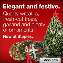 Elegant and festive. Quality wreaths, fresh cut trees, garland and plenty or ornaments. Now at Staples. Shop now.