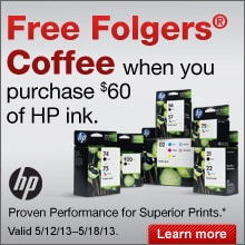 FREE Folgers coffee when you purchase $60 of HP ink