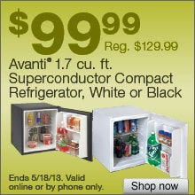Deal on Avanti 1.7 cu. ft. Superconductor Compact Refrigerator , White or Black  Save $30!