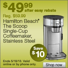 Deal on Hamilton Beach The Scoop Single Cup Coffee Maker  Save $10!