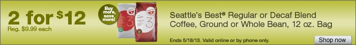 Deal on Seattles Best Coffee, 12 oz. Bags  2 for $12!