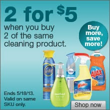 Deal on select cleaning products  2 for $5!