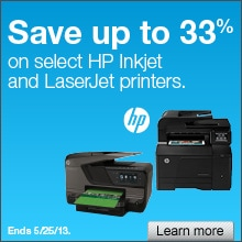 Save up to 33% on select HP Inkjet and LaserJet Printers.