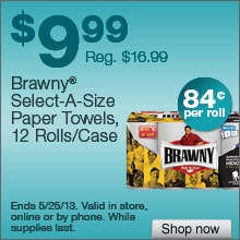 Deal on Brawny Select-a-Size Paper Towels, 12 Rolls/Case – Now $9.99! That's only 84 cents per roll!