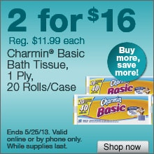 Deal on Charmin Basic Bath Tissue, 20 Rolls/Case – 2 for $16!