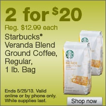 Deal on Starbucks Veranda Blend Ground Coffee, 1 lb. Bags – 2 for $20!