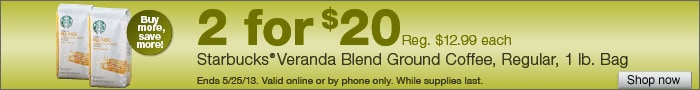 Deal on Starbucks Veranda Blend Ground Coffee, 1 lb. Bags  2 for $20!