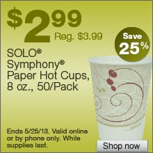 Deal on Solo Symphony Paper Hot Cups, 8 oz., 50/Pack, Save 25%!