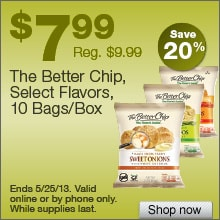 Deal on The Better Chip Tortilla Chips, Select flavors, 10 Bags/Box – Save 20%!