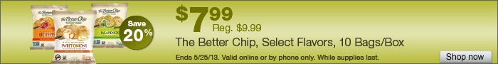 Deal on The Better Chip Tortilla Chips, Select flavors, 10 Bags/Box  Save 20%!