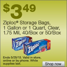 Deal on Ziploc Storage Bags, 1 Gallon  or 1 Quart, Clear, 1.75 Mil, 40/Box or 50 Box  Now $3.49!