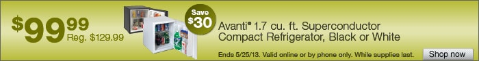 Deal on Avanti 1.7 cu. ft. Superconductor Compact Refrigerator, Black or White, Save $30!