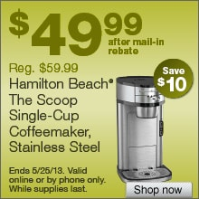 Deal on Hamilton Beach The Scoop Single-Cup Coffee Maker – Save $10!