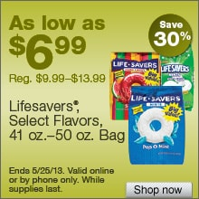 Deal on select Lifesavers, 41 – 50 oz. Bags – Save 30%!